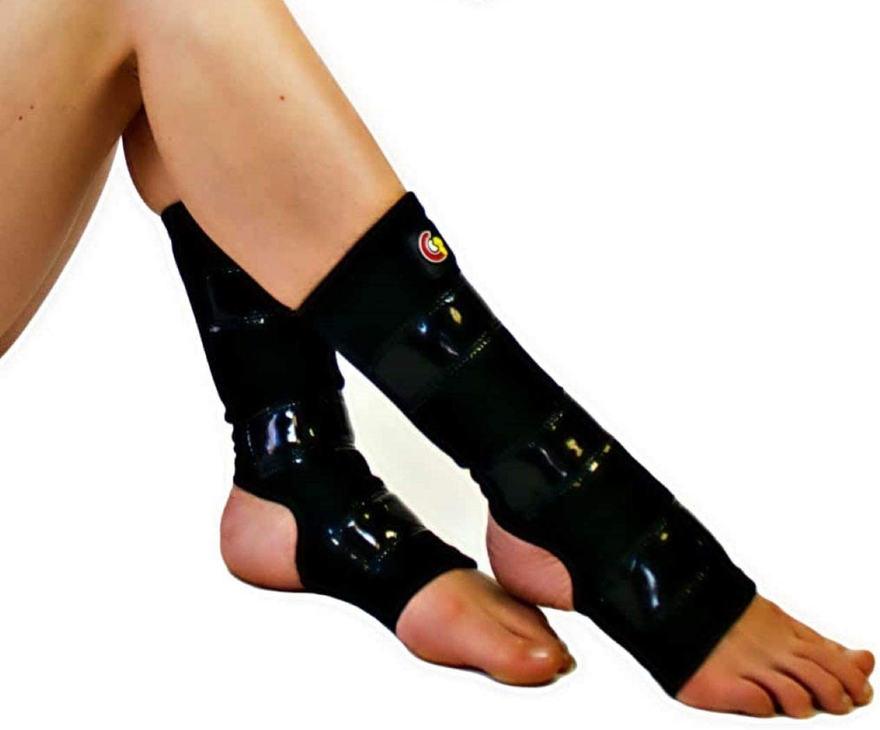 Mighty Grip Black Pole Dancing Ankle Protectors with Tack Strips for Gripping The Pole (Large)