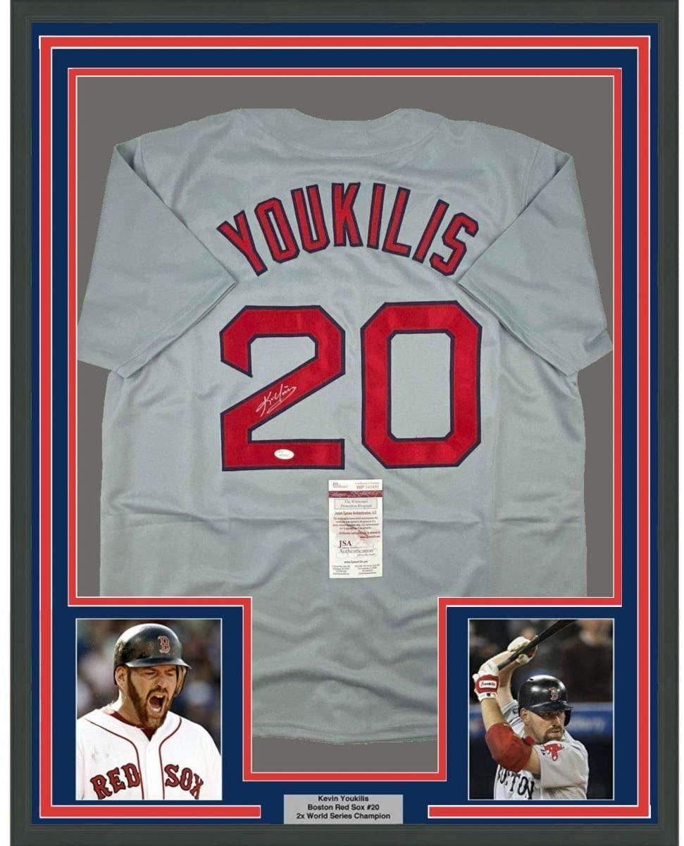 Framed Autographed/Signed Kevin Youkilis 33x42 Boston Grey Baseball Jersey JSA COA