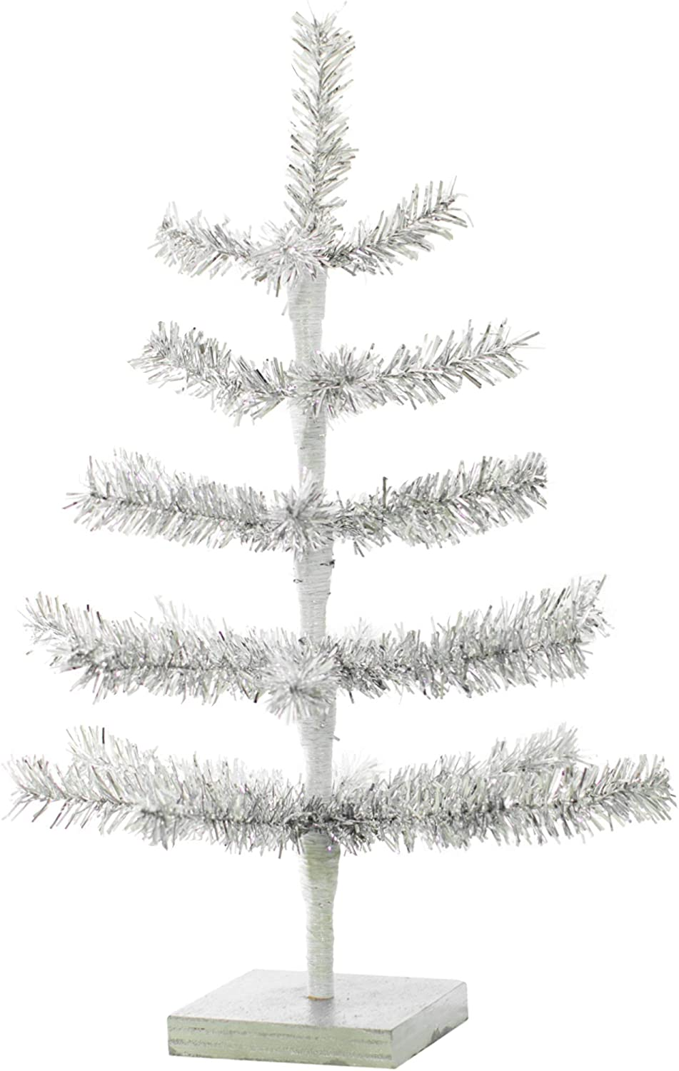 18in Silver Tinsel Christmas Trees Artificial Aluminum Thin Brush Branches Wood Base Stand Included