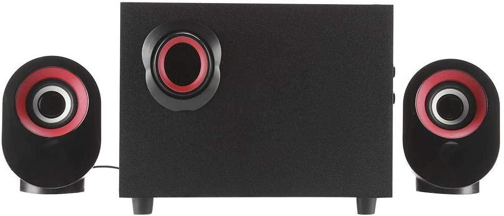 EBTOOLS Wooden Portable Desktop Speaker, PC HiFi Stereo SoundBox Subwoofer 2.1 Multimedia USB Speaker Music Player(Red)