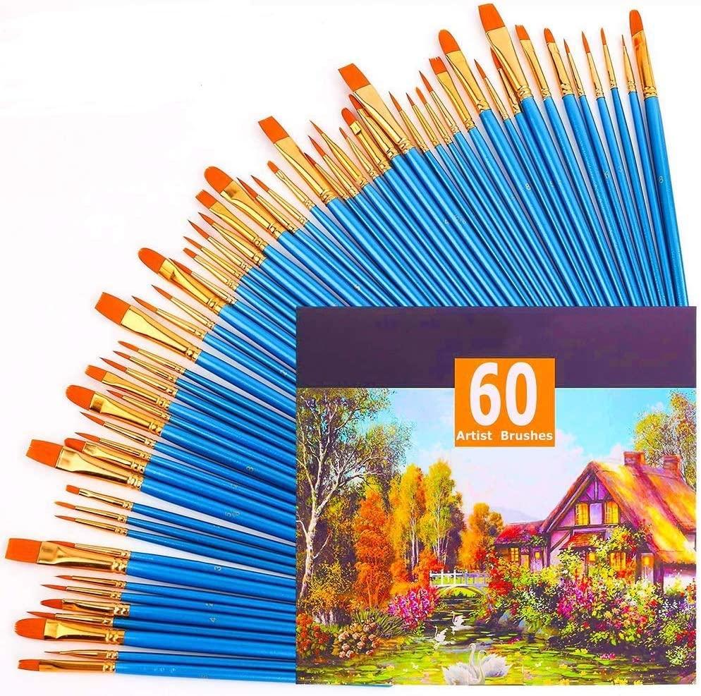 Acrylic Paint Brush Set Nylon Paint Brushes Professional Artist Paint Brushes for Watercolor Oil Painting, 60pcs