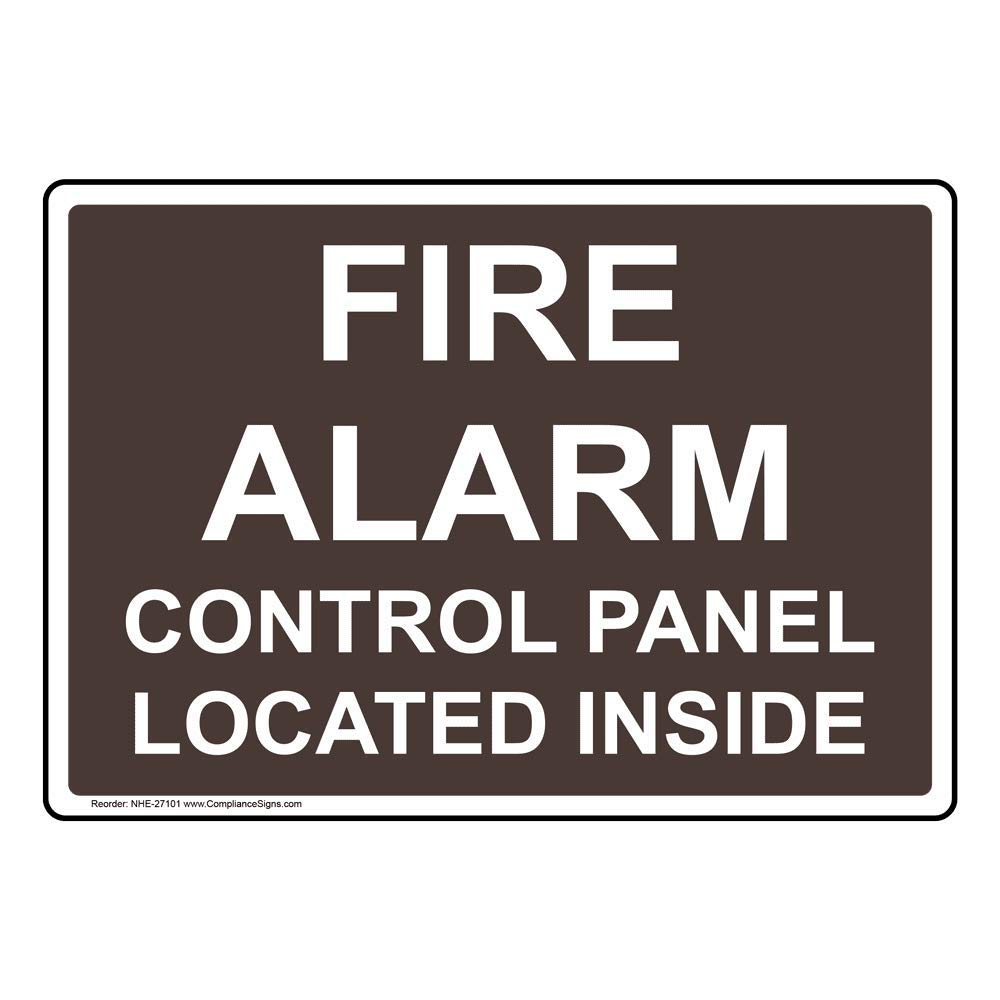 Fire Alarm Control Panel Located Inside Sign, 10x7 in. Plastic for Fire Safety/Equipment by ComplianceSigns