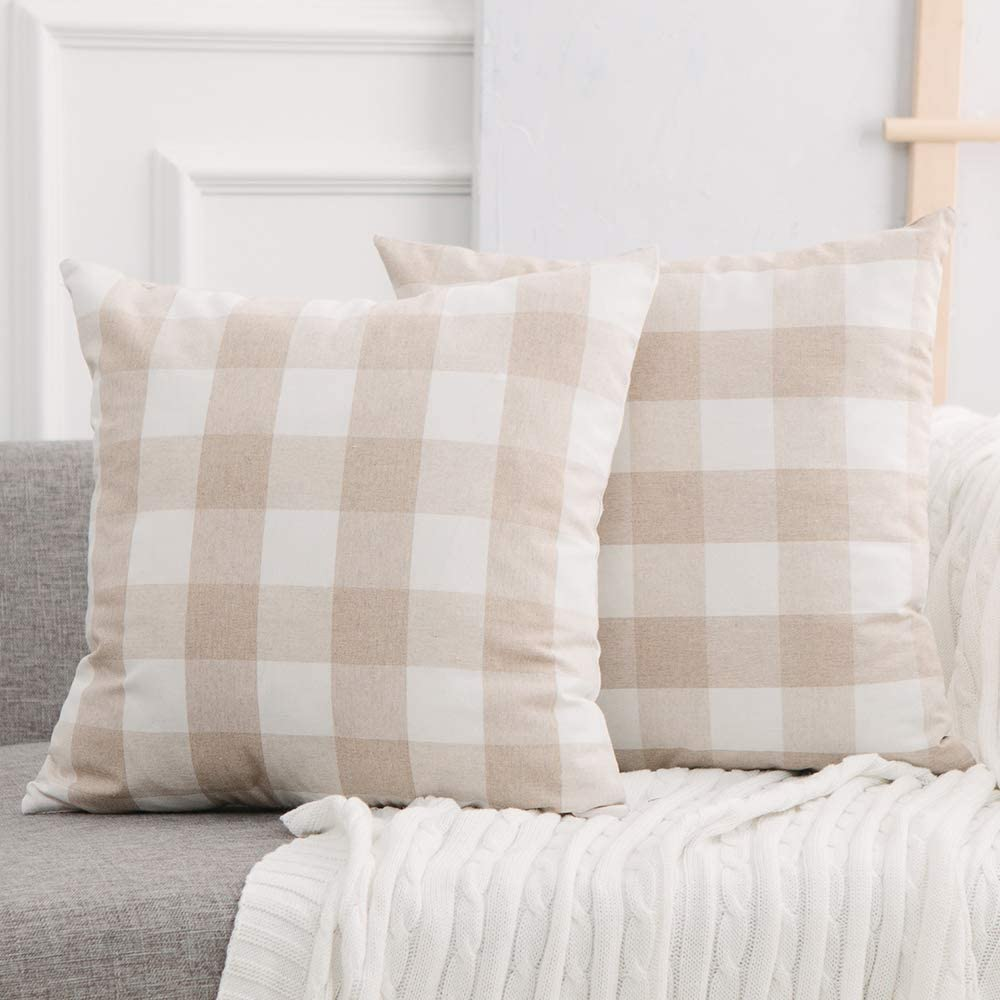 NATUS WEAVER 2 Piece Beige White Cotton Buffalo Check Plaid Gingham Oversize Square Throw Pillow Cover Pillowcases with Smooth Invisible Zipper for Bed Sofa Car, 26 x 26