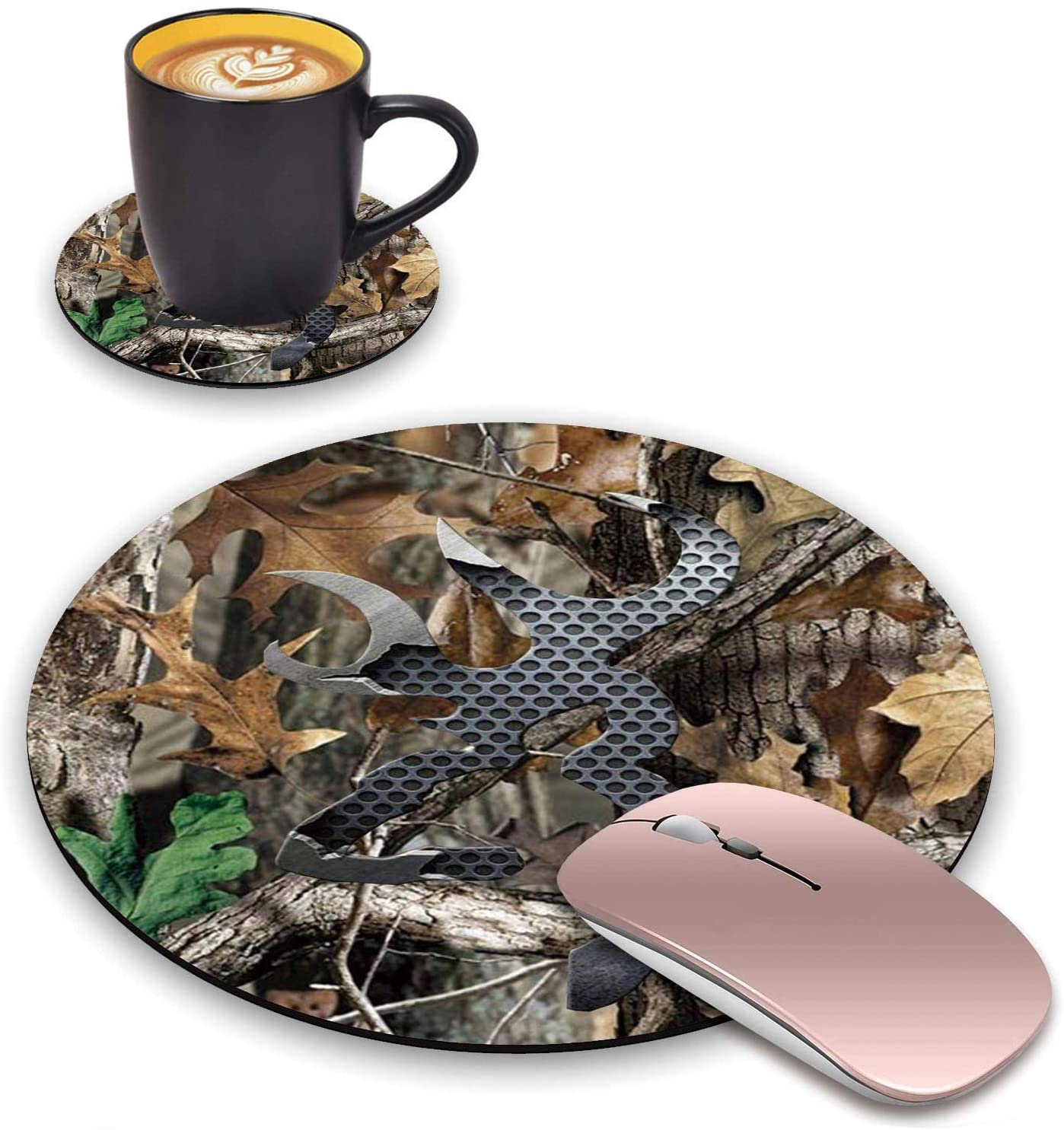 BWOOLL Round Mouse Pad and Coasters Set, Jungle Camo Design Mouse Pad, Non-Slip Rubber Base Mouse Pads for Laptop and Computer