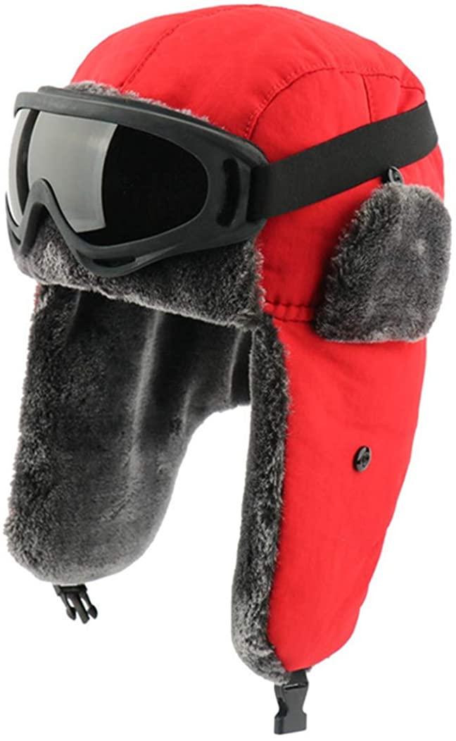 Warm Russian Ushanka Hat with Goggles Women's Trapper Pilot Hat Faux Fur Ski Cap