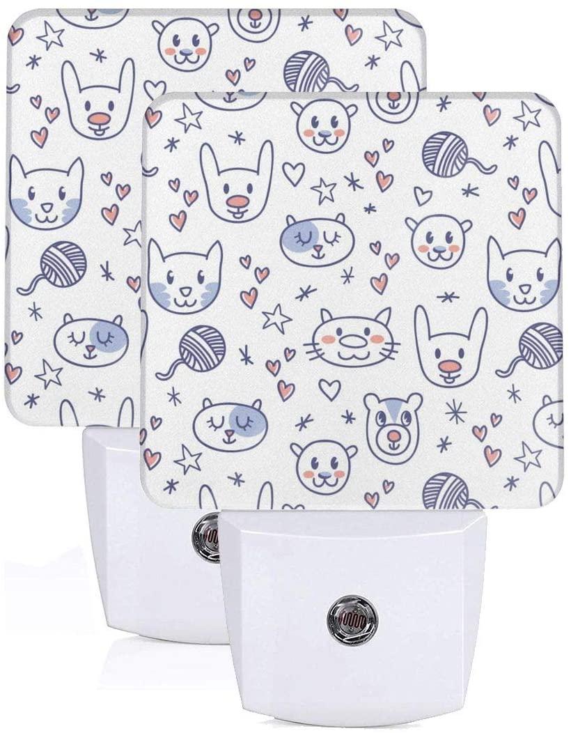 Feihuang Printing Cute Animal Cat Bear Patterns On Plug-in Led Night Light Warm White Nightlight for Bedroom Bathroom Hallway Stairways(0.5w 2-Pack)