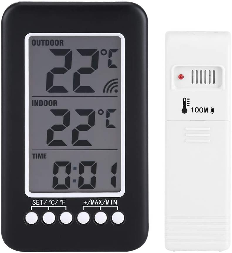 HERCHR LCD Indoor Outdoor Thermometer, Digital Thermometer with Wireless Transmitter Household Temperature Measurement Tools