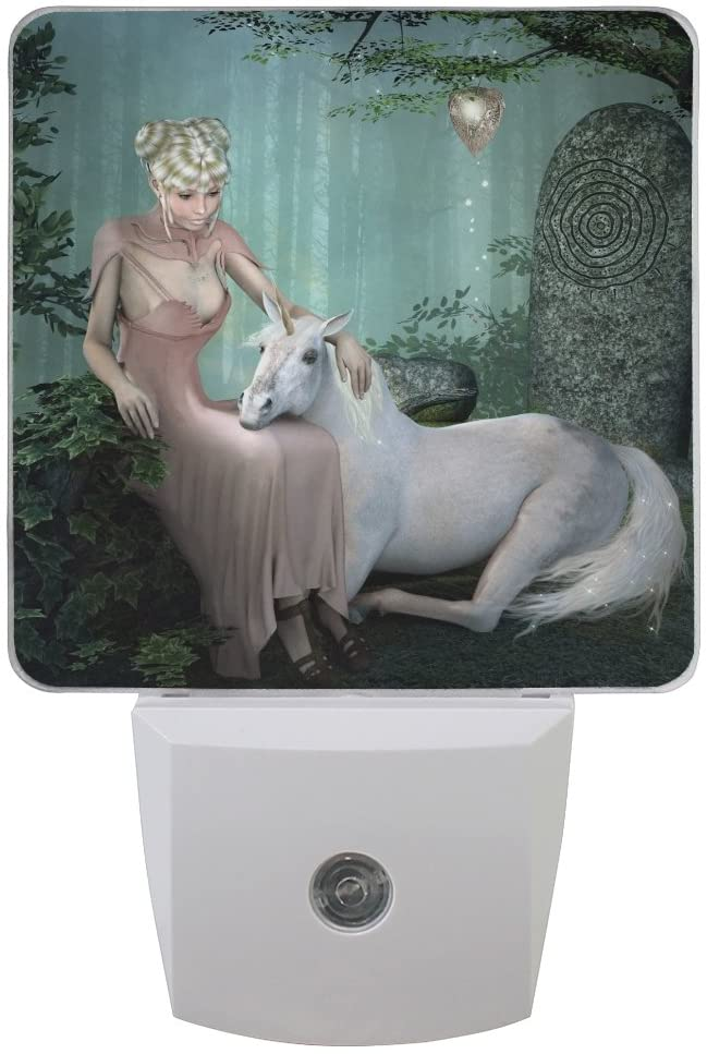 Naanle Set of 2 Unicorn Lady Girl Fantasy Fairy Forest Woodland Auto Sensor LED Dusk to Dawn Night Light Plug in Indoor for Adults