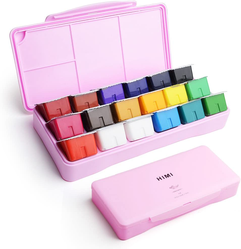 HIMI Gouache Paint Set, 18x30ml Jelly Cup Watercolor Paint Set with a Palette in a Plastic Box for Student, Hobbyist and Professional Artist (Pink)