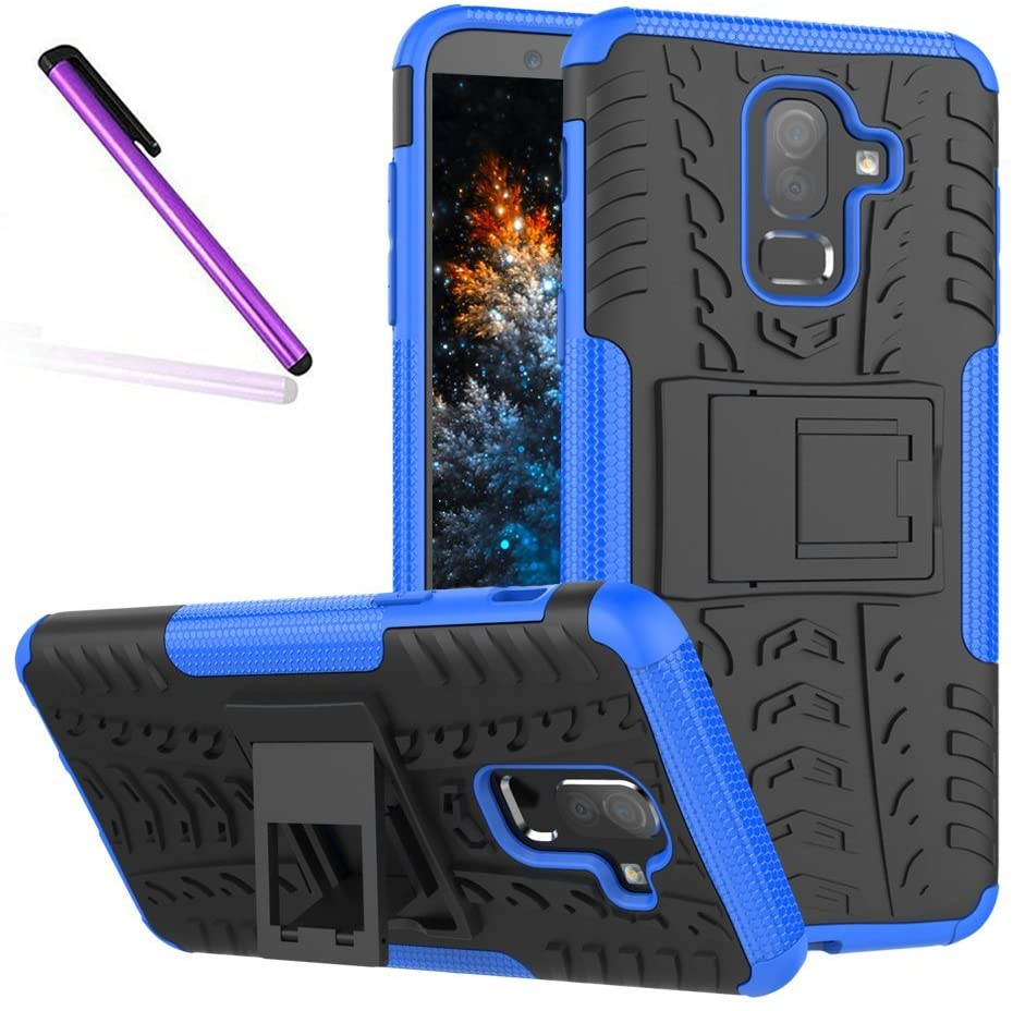 COTDINFORCA Case for J8 2018 Tyre Pattern Design Heavy Duty Toughe Protection Case with Kickstand Shock Absorbing Detachable 2 in 1 Case Cover for Samsung Galaxy J8 2018. Hyun Blue