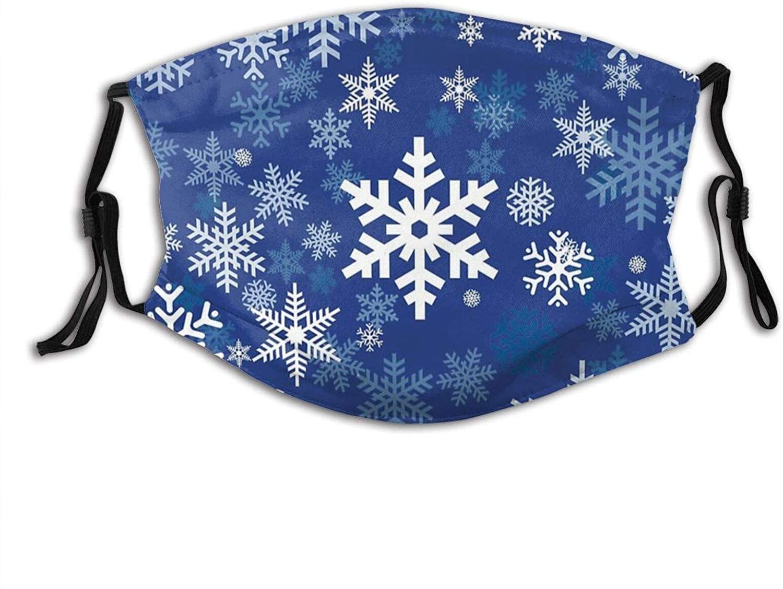 Snowflakes On Dark Face Mask Washable Christmas Balaclava Comfortable Reusable Mask With Pocket & 2 Filters