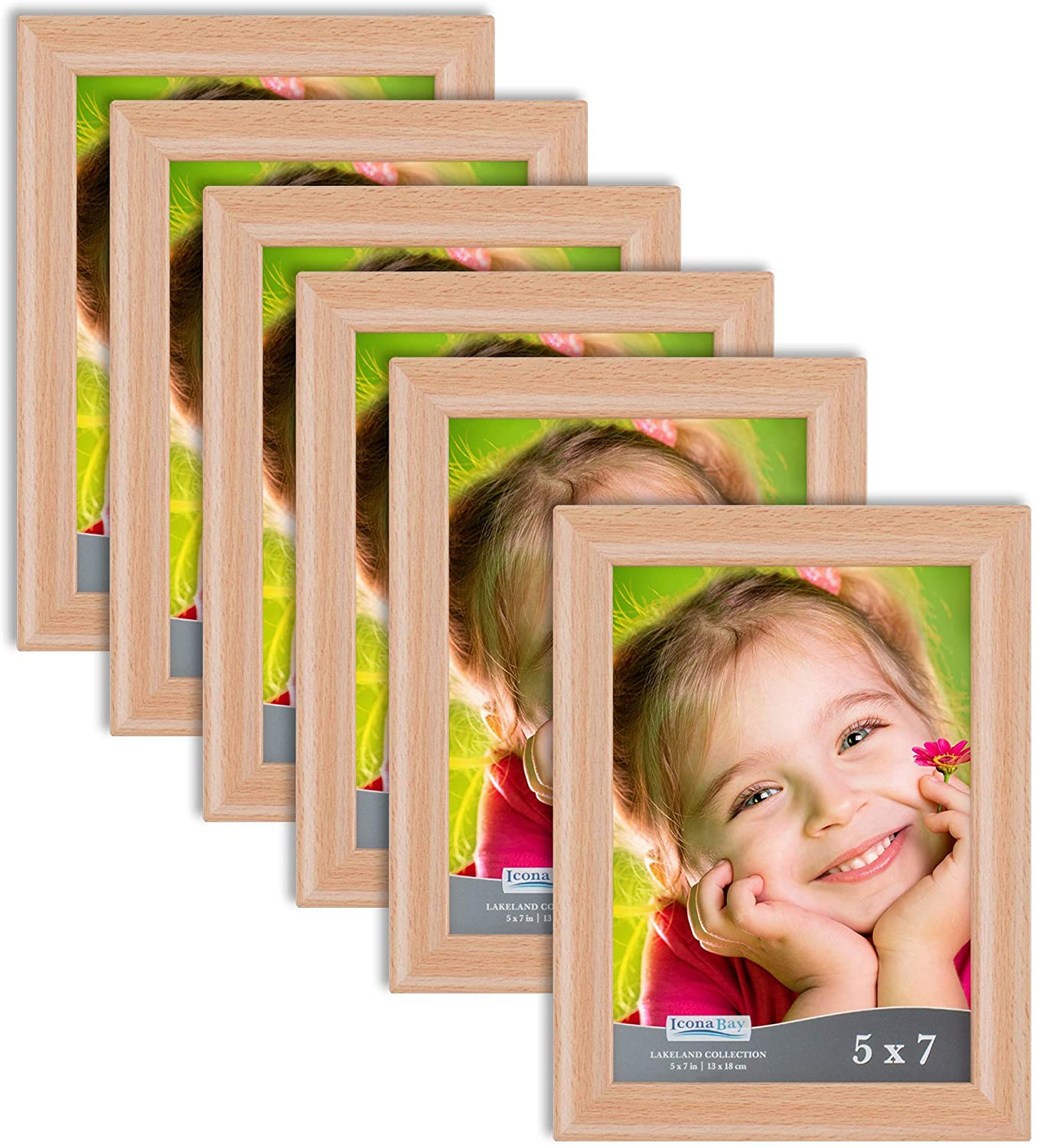 Icona Bay 5x7 (13x18 cm) Picture Frames (Beechwood Finish, 6 Pack), Contemporary Photo Frames 5 x 7, Composite Wood Frames for Walls or Table Top, Lakeland Collection