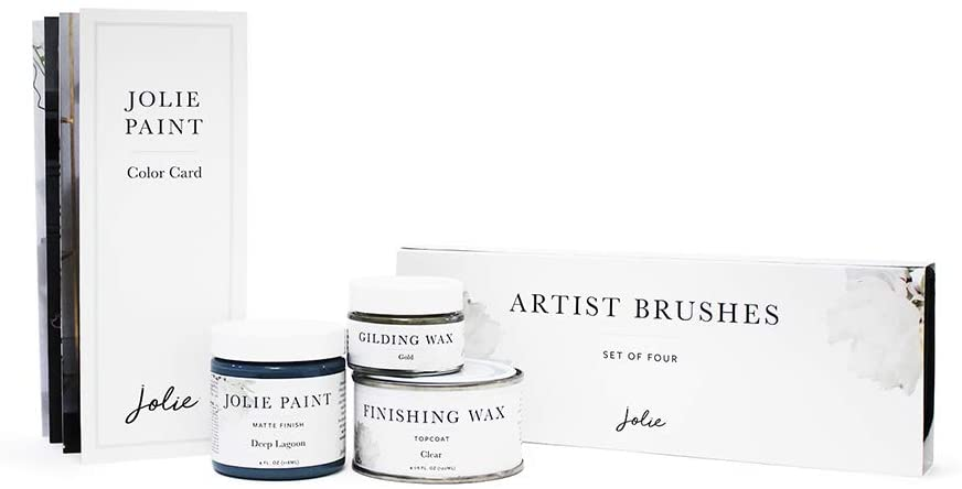 Jolie Metallic Touch Kit - (French Grey) - Gift set includes Jolie Paint 4oz, 120ml Clear Finishing Wax, Gold Gilding Wax, Artist Brush Set, Color Card - Add metallic accents to furniture & home decor