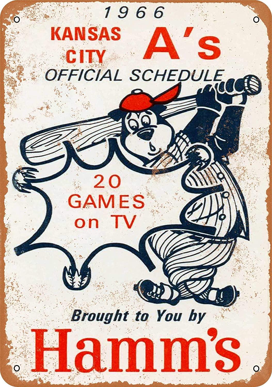 Nxsbns 1966 Hamm's Beer and Kansas City Athletics Metal Tin Sign 12 X 8 Inches Vintage Wall Decor