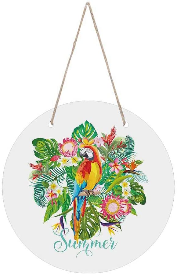 InterestPrint Round Wood Hanging Sign Decor for House, Coffee Shop, Office Tropical Flowers and Parrot