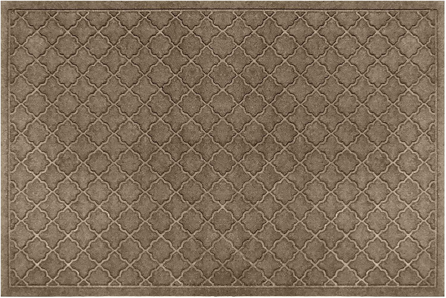 Bungalow Flooring Waterhog Door Mat, 3' x 5' Made in USA, Durable and Decorative Floor Covering, Skid Resistant, Indoor/Outdoor, Water-Trapping, Cordova Collection, Khaki/Camel