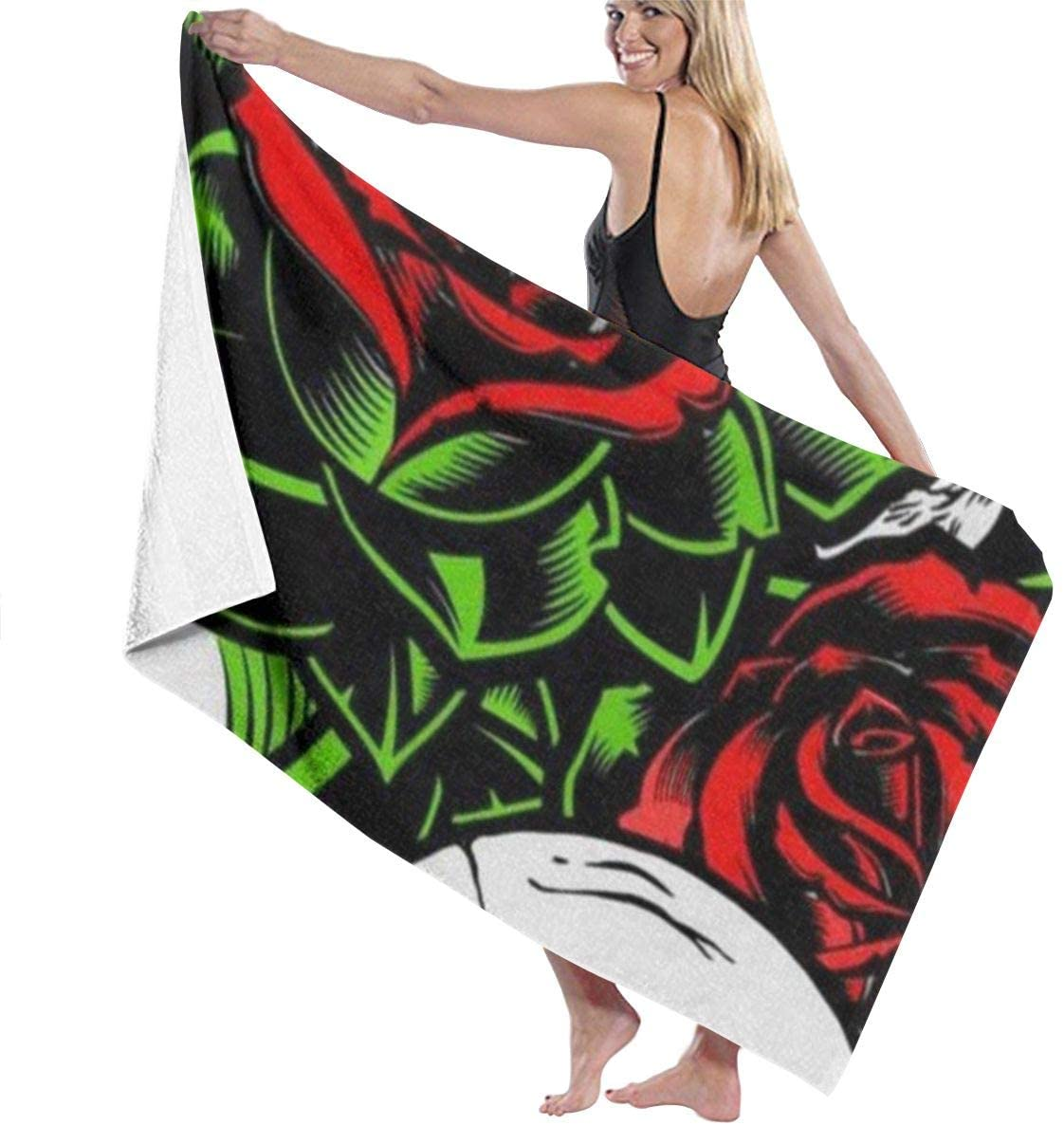 NiYoung Lightweight Bath Towels Highly Absorbent and Quick Dry Extra Large Bath Towel Super Soft Hotel Quality Towel for Spa, Shower, Bath and Gym Towel, Skulls Red Rose Lower Green Leaf