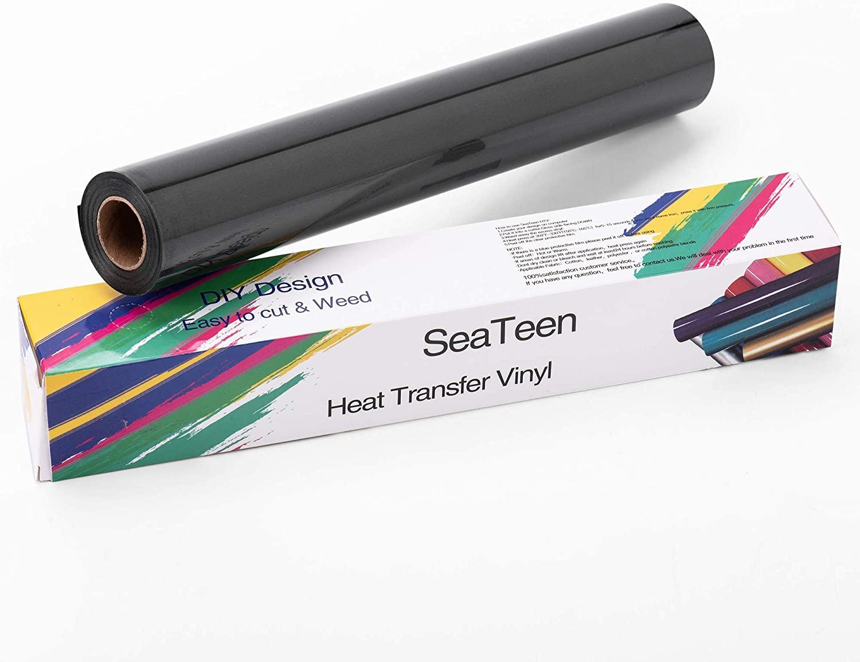Heat Transfer Vinyl HTV Rolls PU Elastic Iron on Vinyl 12 inch x15 Feet. Glossy Heat Press for Design DIY T Shirts & Fabrics, Easy to Cut & Weed by Cameo Silhouette & Cricut(Black)