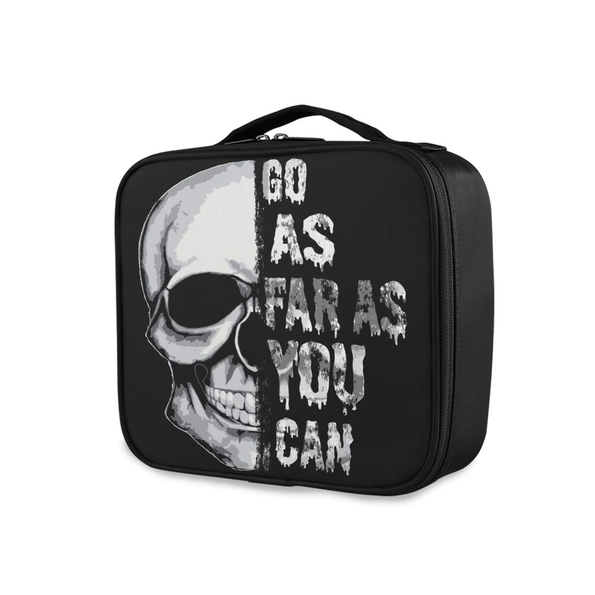 ALAZA Makeup Case Skull Cosmetic Bag Organizer Travel Portable Storage Toiletry Bag Makeup Train Case with Adjustable Dividers for Teens Girls Women