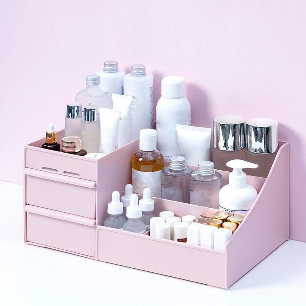 Large Capacity Cosmetic Storage Box Makeup Drawer Organizer Jewelry Nail Polish Makeup Container Desktop Sundries Storage Box (S,Pink)