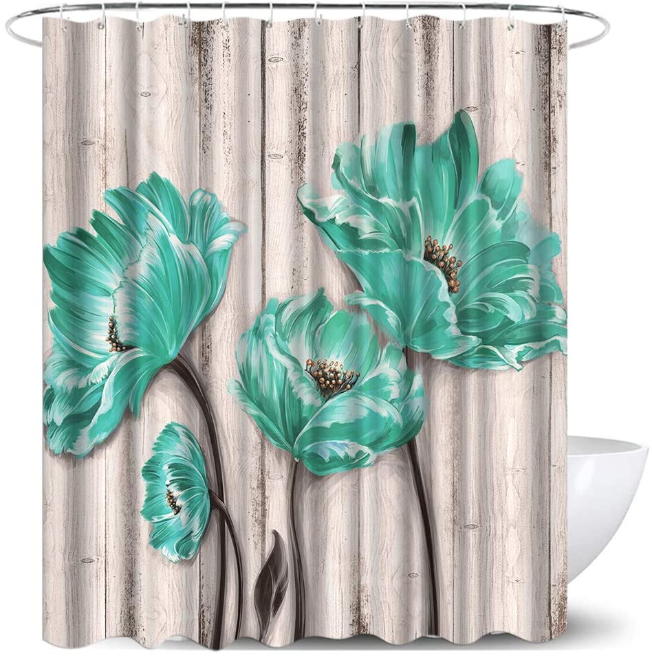 Teal Blue Flower Shower Curtain Sets Blossom Poppy on Vintage Wooden Background Farmhouse Fabric Shower Curtains for Bathroom Decor Machine Washable with Hooks 72x72 inch