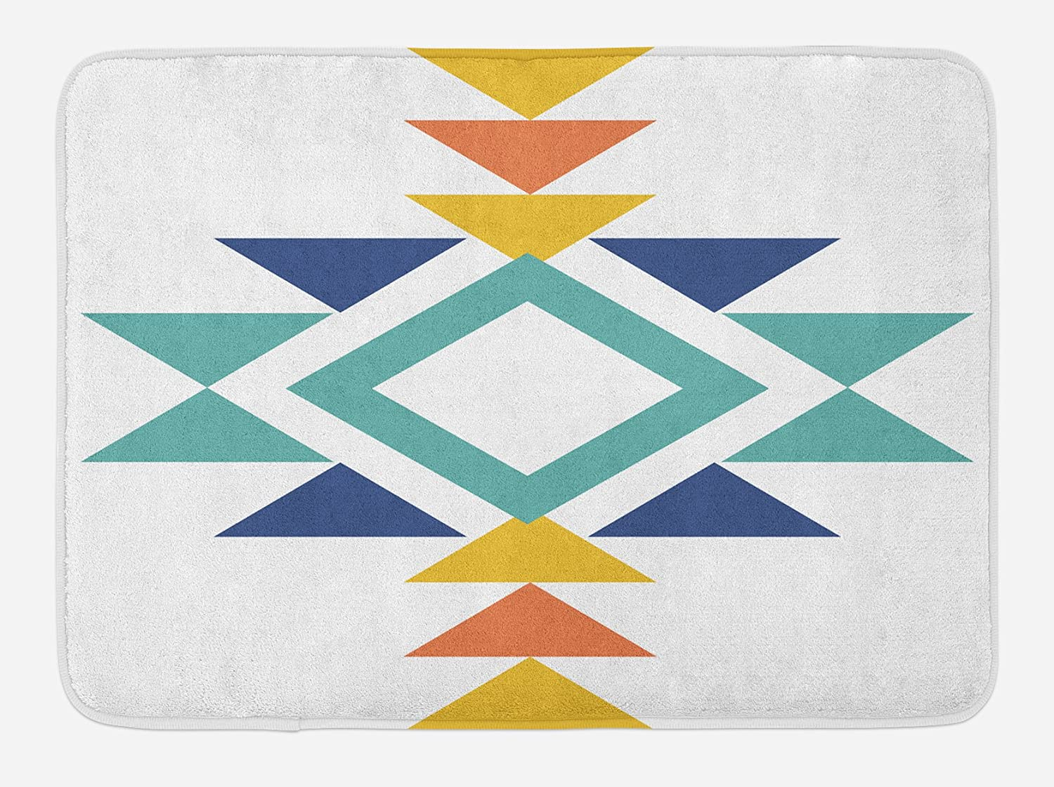 Lunarable Aztec Bath Mat, Abstract Aztec Pattern with Colorful Design Indigenous Culture Print, Plush Bathroom Decor Mat with Non Slip Backing, 29.5 X 17.5, Mustard Turquoise Dark Blue