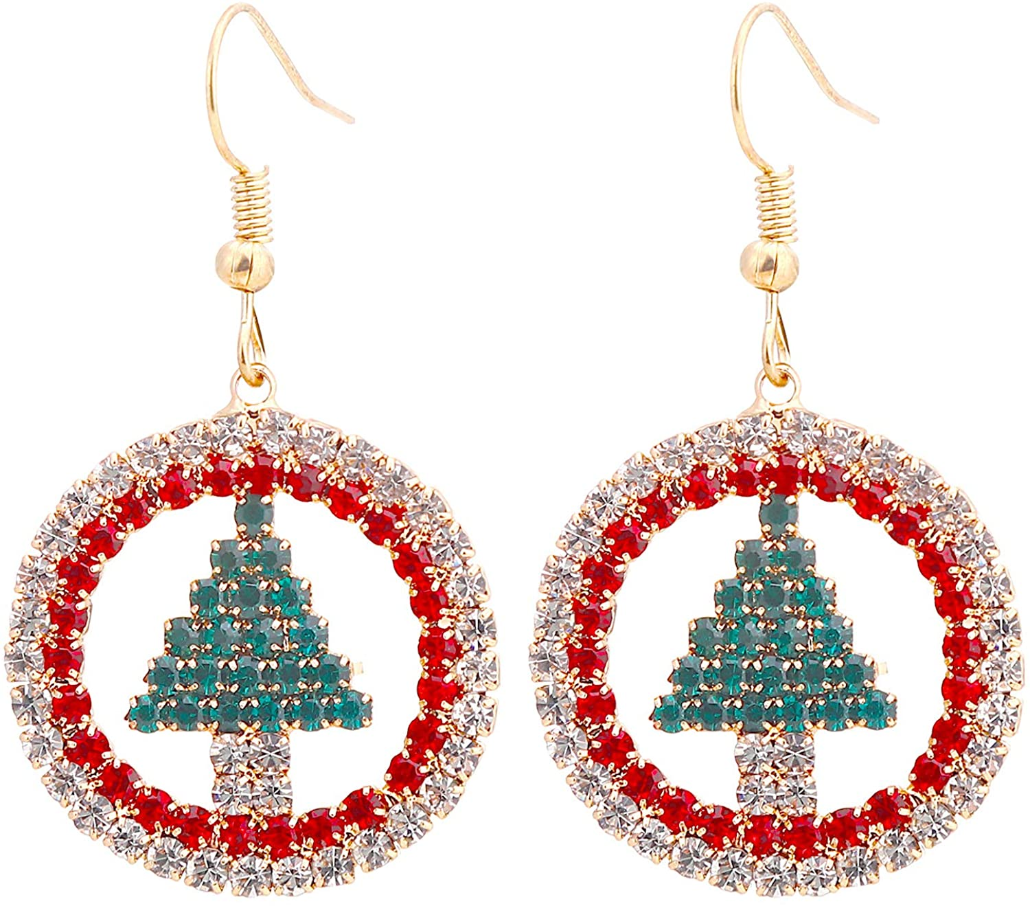 Unijew 2020 Fashion CZ Inlay Circular Christmas Tree Earrings for Women Girls, Celebration Decoration Dangle Earrings,be Made of Metals Rhine Stone Cup Chain, Dangle-earrings Christmas Gift for Women