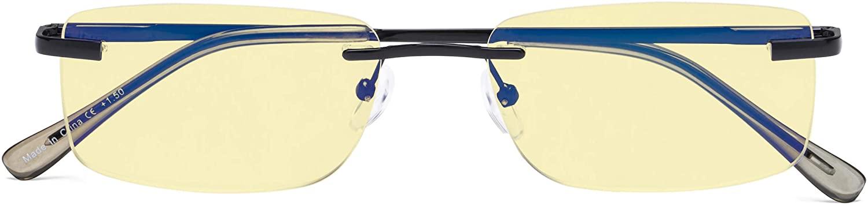 Frameless Blue Light Blocking Glasses Computer Reading Eyeglasses Women Men