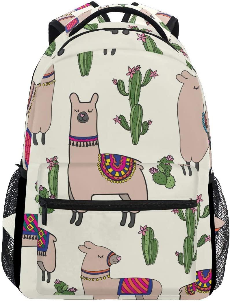 ALAZA Animals Llamas Cactus Beige Stylish Large Backpack Personalized Laptop iPad Tablet Travel School Bag with Multiple Pockets