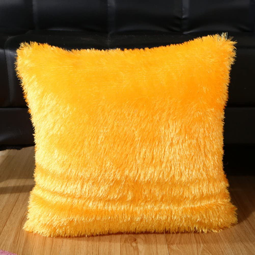 Funif Solid Color Plush Pillow Cover Cushion Case Square Pillow Sham for Couch without Filler Yellow 17 X 17