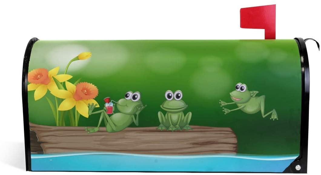 ALAZA WOOR Three Green Frogs On The Log Magnetic Mailbox Cover MailWraps Garden Yard Home Decor for Outdoor Standard Size-18