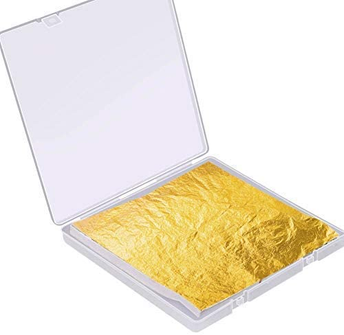 Gold Leaf Sheet for Resin, Paxcoo 300 Sheets Gold Flakes for Resin Nail Foil for Resin Jewelry Making Slime, Nail Arts, Gilding Crafting, Paint, Decoration, 5.5 by 5.5 Inches