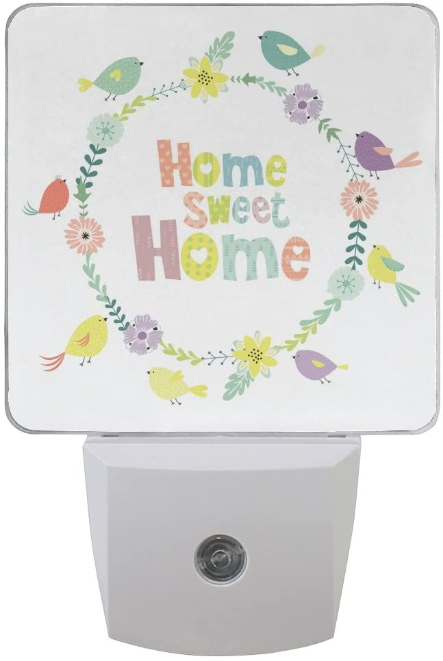 Naanle Set of 2 Home Sweet Home Letters with Cute Colorful Birds Floral Flowers Wreath On White Background Auto Sensor LED Dusk to Dawn Night Light Plug in Indoor for Adults