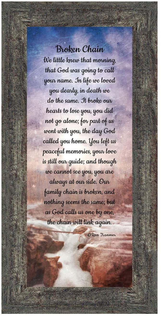 Sympathy Gift In Memory of Loved One, Memorial Picture Frames For Loss Of Loved One, Memorial Grieving Gifts, Condolence Card, Bereavement Gifts for Loss of Mother, Father, Broken Chain Frame, 7382BW