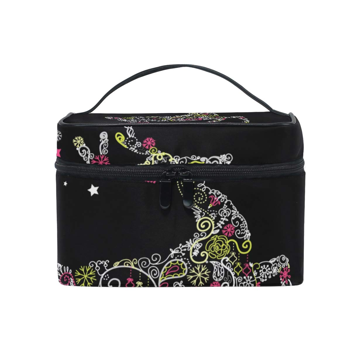 Travel Makeup Case Cosmetic Bag for Girl Women, Christmas Card Large Capacity and Adjustable Makeup Bags Travel Waterproof Toiletry Bag Accessories Organizer