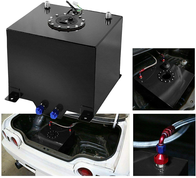 EASYBERG 20 Gallon / 80L Fuel Cell Tank Black Coated Aluminum Racing Drift + Level Sender