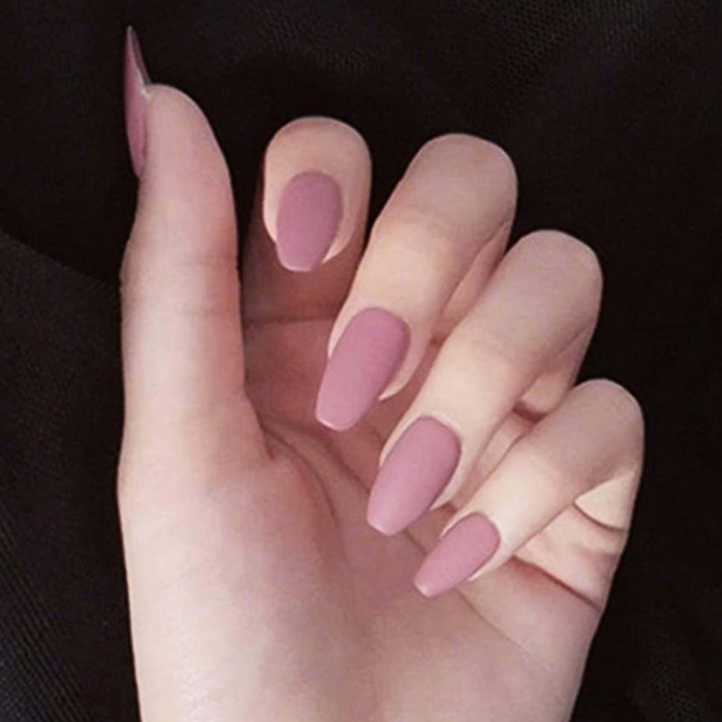 Relbcy Matte Coffin False Nails Pink Long Fake Nails Acrylic Full Cover Press on Nails for Women and Girls (24 PCS)