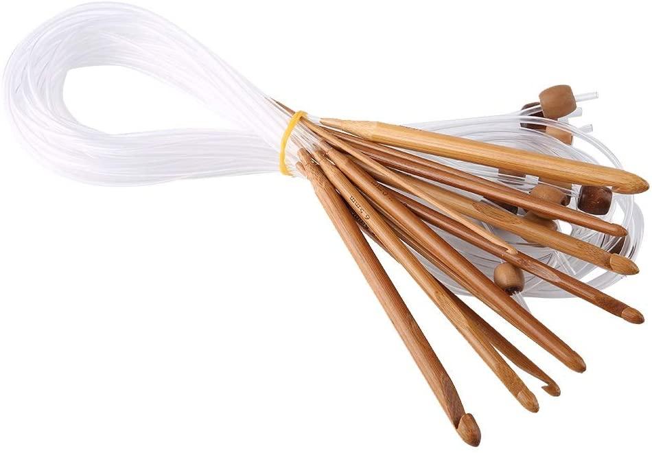 Delaman Circular Knitting Needles 12pcs Carbonized Bamboo Afghan Tunisian Crochet Hooks Set Carpet Rug Weave