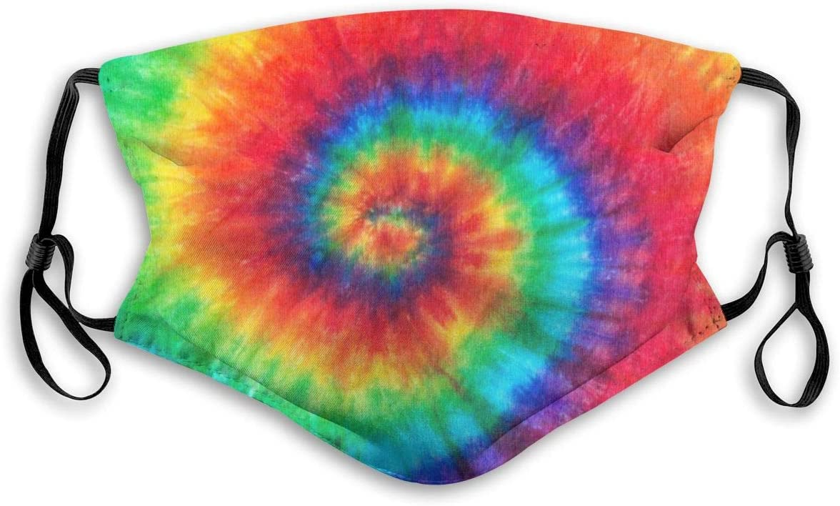 Colorful Rainbow Spiral Tie Dye Pattern Dust Washable Reusable Filter and Reusable Mouth Warm Windproof Cotton Face