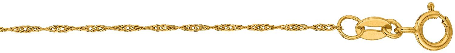 LUXURMAN 10K White, Yellow Solid Gold 0.8mm Wide Diamond Cut Singapore Chain Necklace Spring Ring Clasp