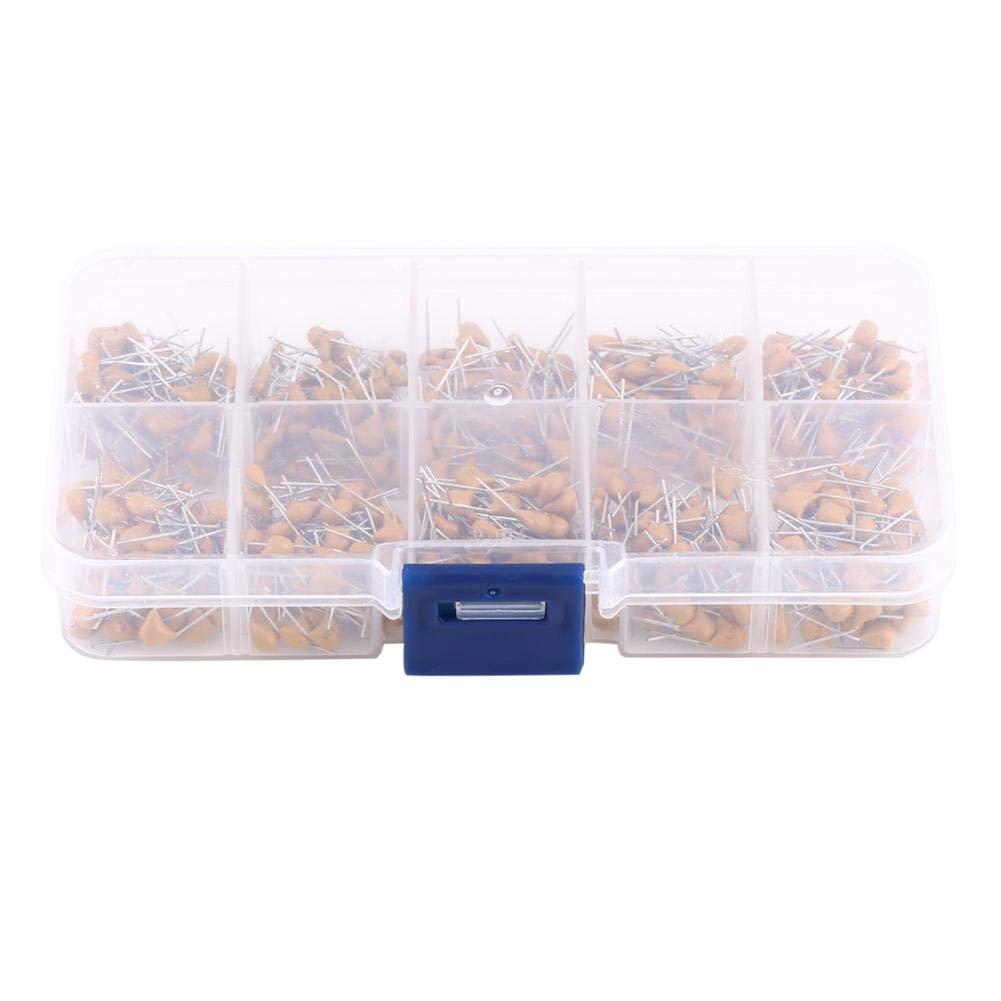 Electrolytic Capacitors,500pcs 10 Value Assorted Assortment Convenient RangeKit Set with Plastic Storage Box 0.1μF - 10μF