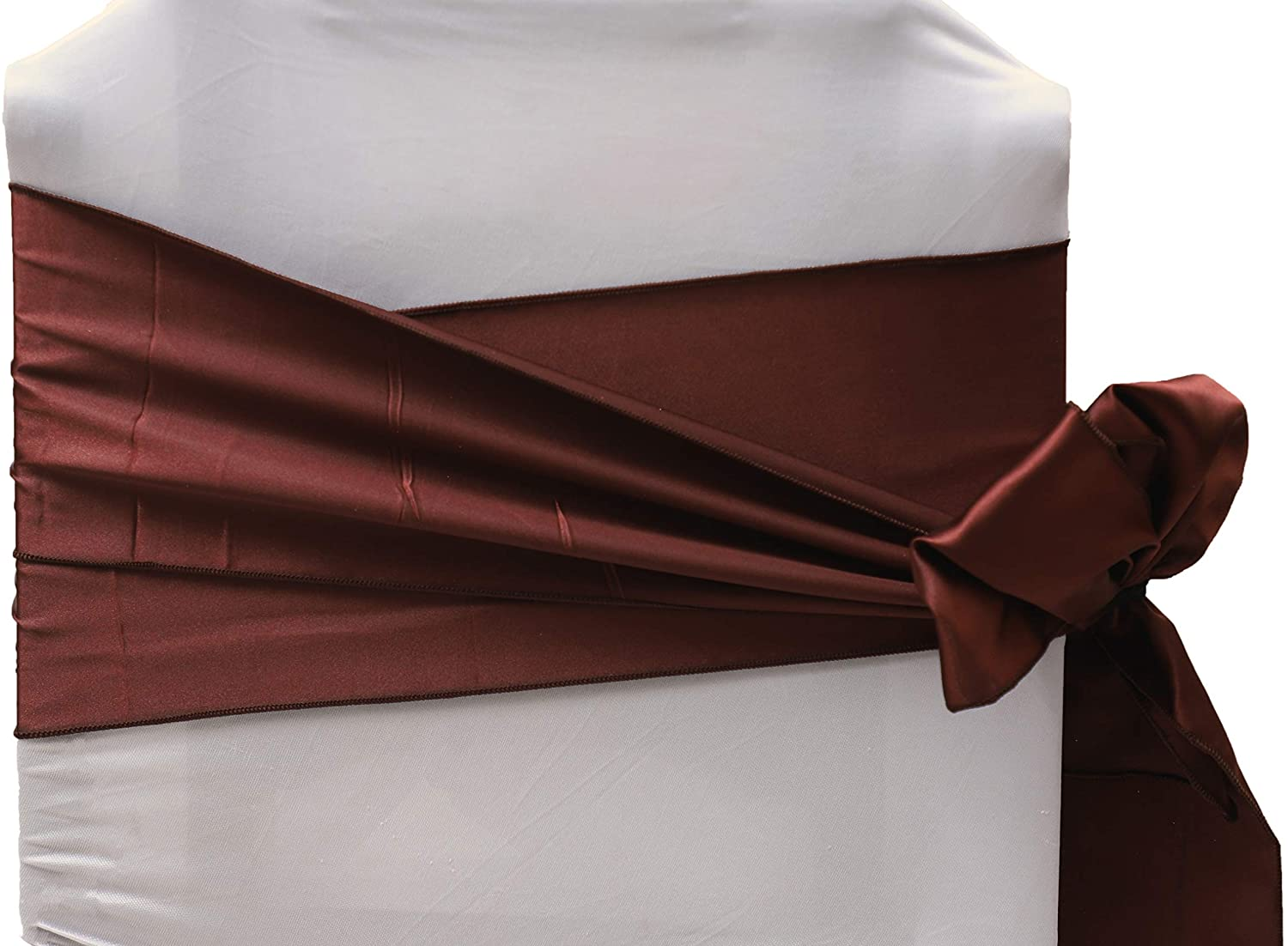 Vinex Pack of 12 Satin Chair Sashes Bow Sash for Wedding Party Engagement Even Birthday Graduation Meeting Banquet Decoration Event Supplies Party Decoration Chair Cover Sash - Dark Coffee