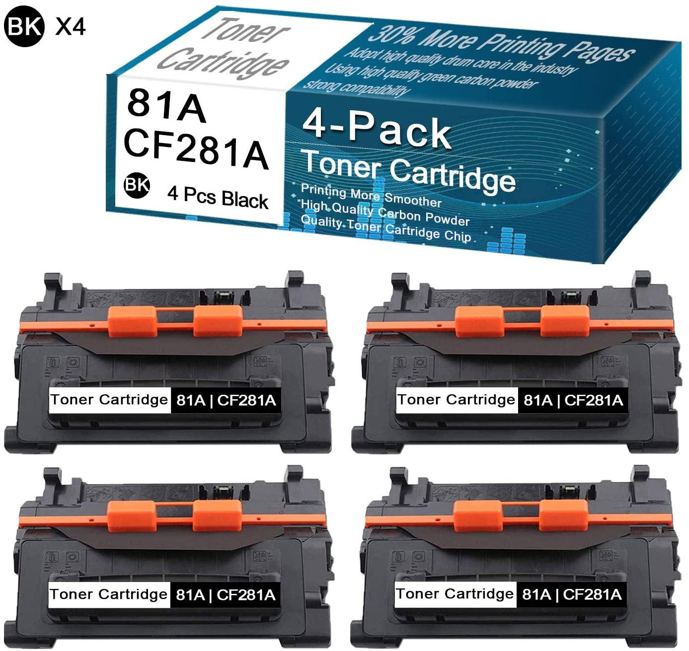 CuToner Compatible Toner Cartridges 4-Pack Black 81A   CF281A Replacement for HP Laserjet Enterprise M604n,M604dn,M605n,M605dn,M605x,M606dn,M630h,M630dn,M630f,M630z,M604 Printers Toner Cartridges.