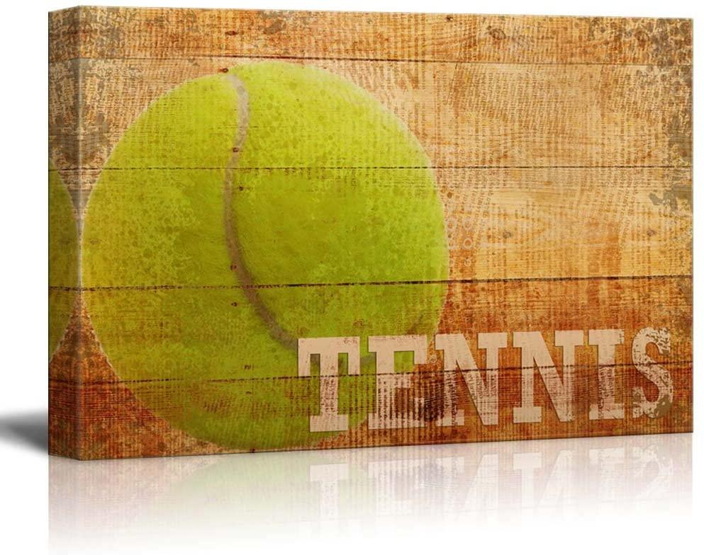 wall26 - Rustic Tennis - Tennis Ball Vintage Wood Grain - Canvas Art Home Art - 24x36 inches