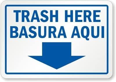 Isaric Trash Here, Basura Aqui, Adhesive Signs and Labels, 12 x 8