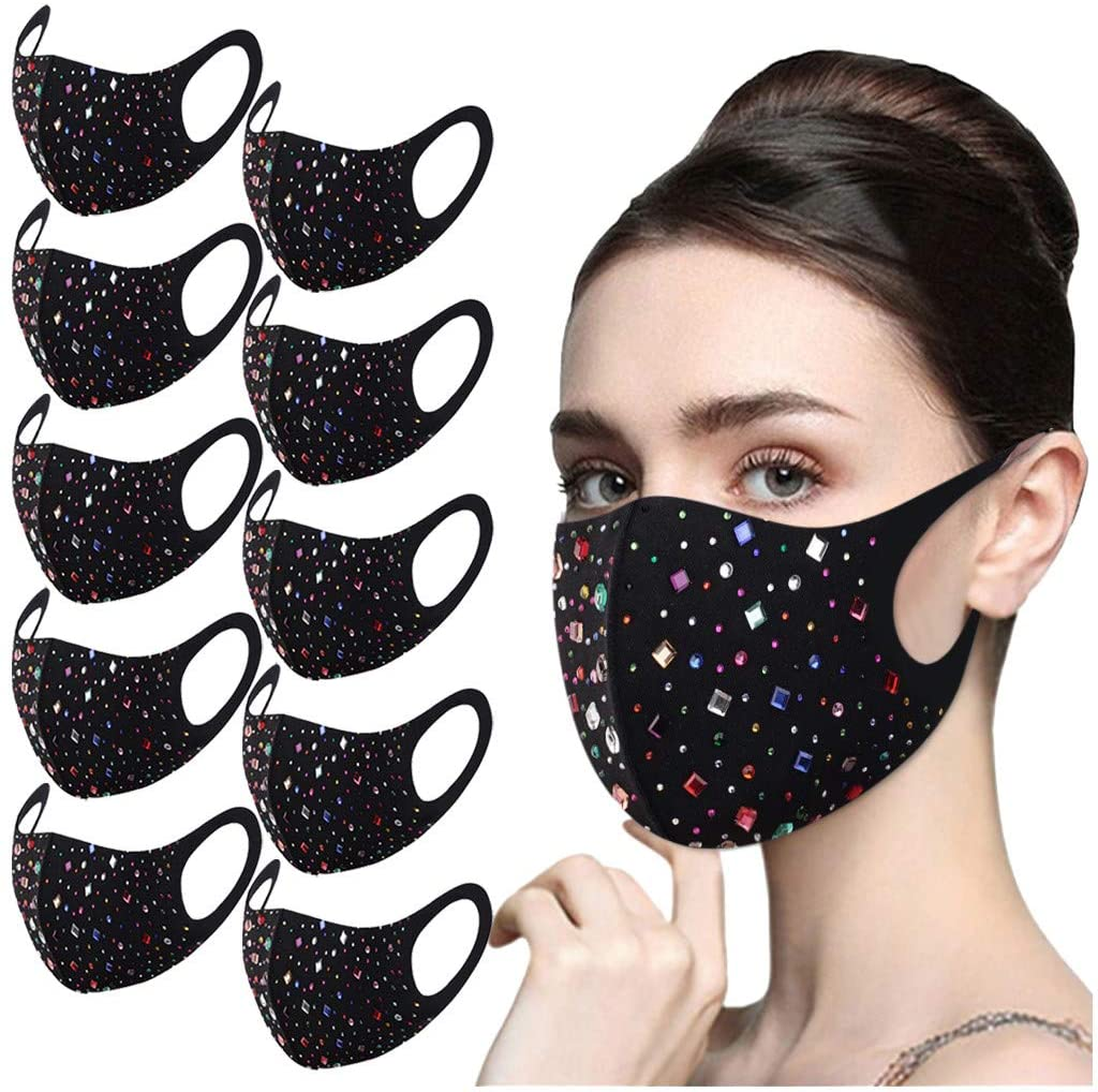 4Pcs Women Sparkly RhinestoneFace_Mask Crystal Masquerade Mack Decorative Halloween Ball Party Nightclu Bandana for Women and Girls