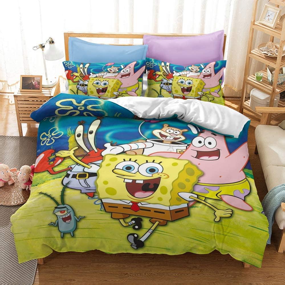FRECASA Spongebob Squarepants Bedding Set Spongebob Duvet Cover Set 3 Piece 3D Print Patrick Star Squidward Tentacles for Kids (1 Duvet Cover & 2 Pillow Shams)
