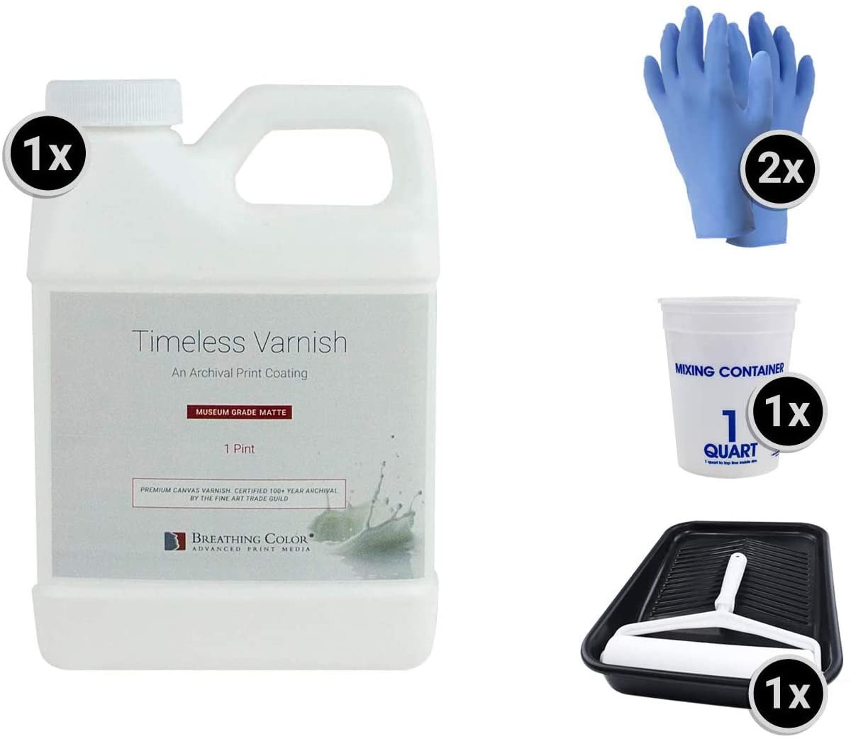 Timeless Archival Print Varnish Kit - 1 Pint, Matte Finish, Best Canvas Coating, Certified Archival Quality, Includes Foam Roller, Mixing Cups, and Gloves Bundle