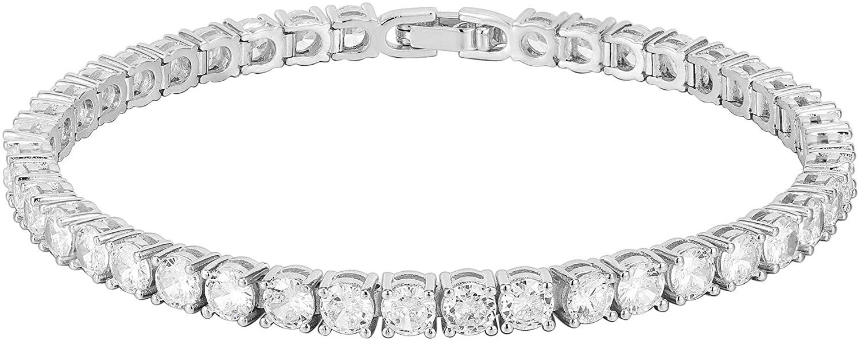 PAVOI 14K Gold Plated Cubic Zirconia Classic Tennis Bracelet | Gold Bracelets for Women | 4mm CZ, Size 6.5-7.5 Inch