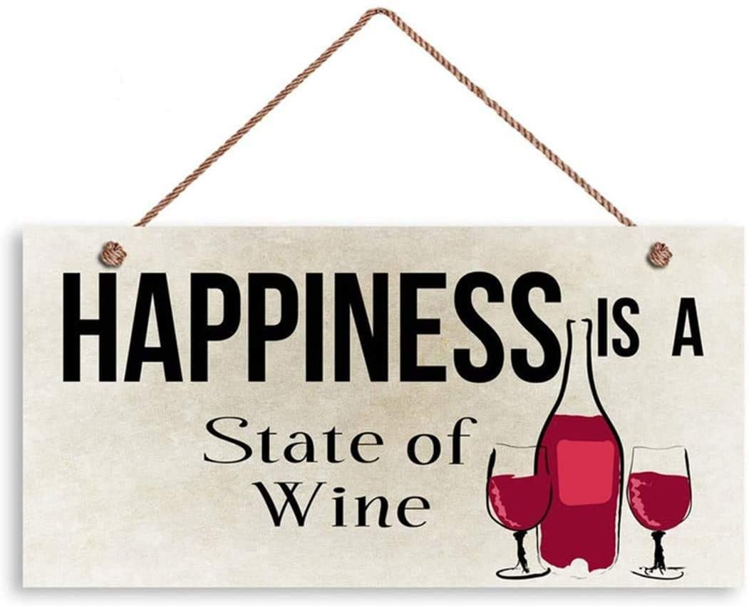 MAIYUAN Wine Sign, Happiness is A State of Wine, 12x6 Sign, Wine Bottle and Glasses, Funny Sign, Humorous Sign(XU2456)
